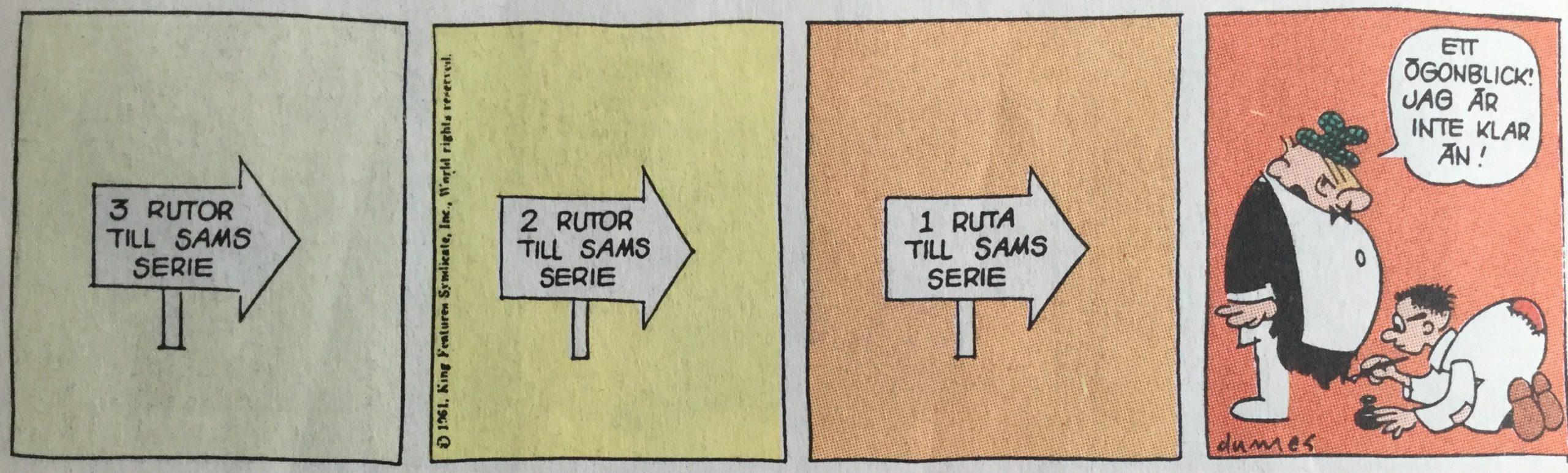 Första strippen av Sam's strip från 16 oktober, 1961. ©Bulls