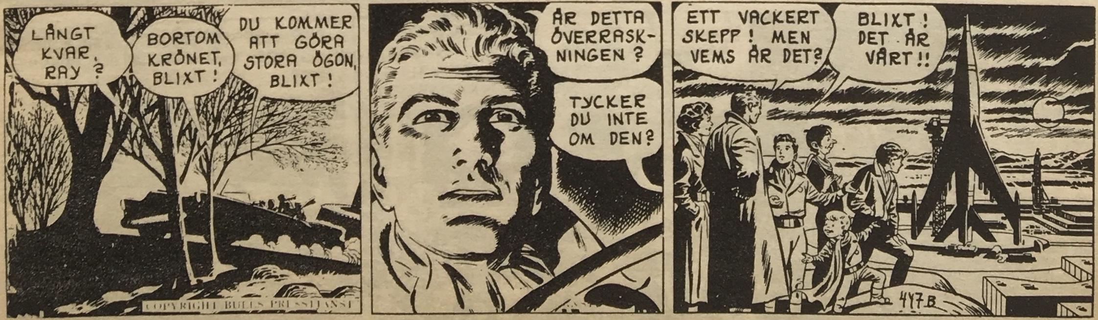 """En stripp ur """"Blixt Gordon och rymdpojkarna"""", av Dan Barry från 10 februari 1955"""