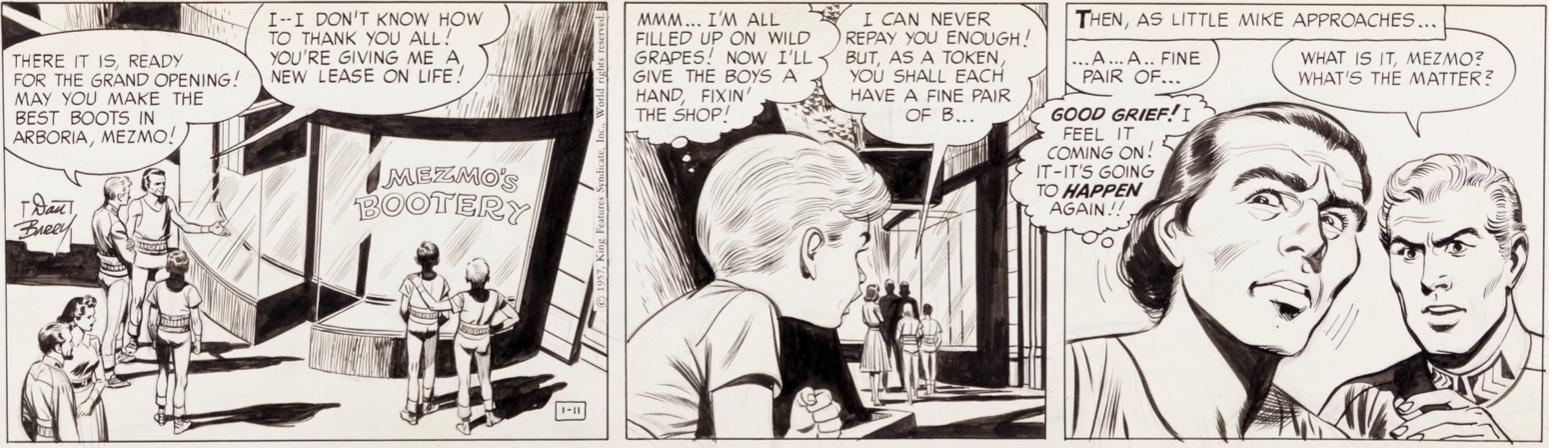 """En originalstripp ur """"Mezmo"""", från 11 januari 1957"""