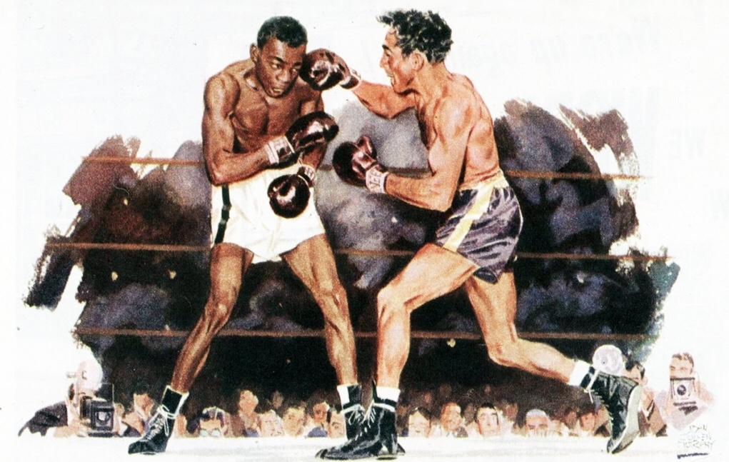 Illustration av John Cullen Murphy i Collier's Magazine från en titelmatch i fjädervikt mellan Willie Pep och Sandy Saddler
