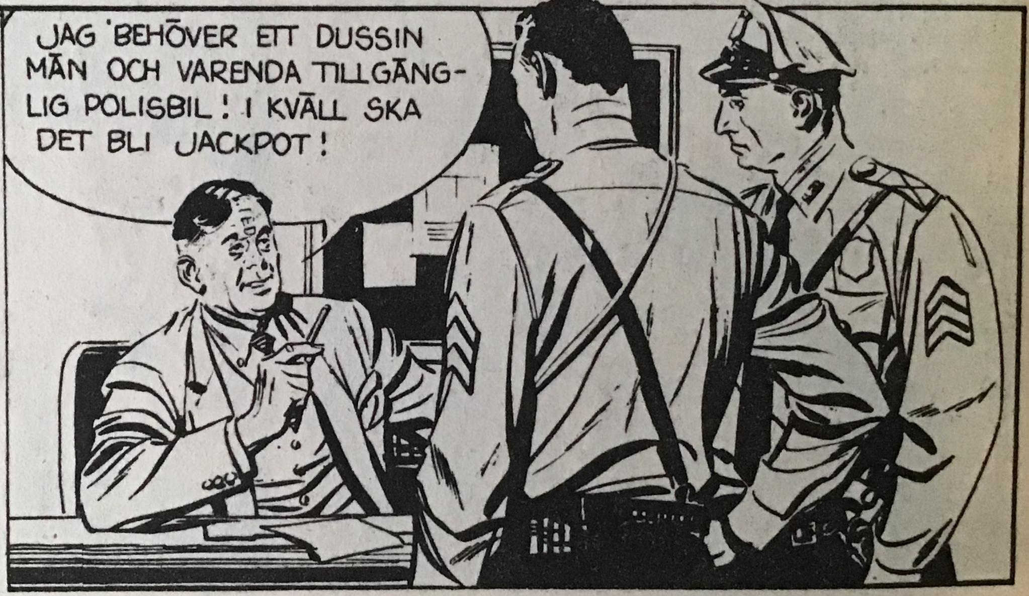 Copyrightremsan blir regelmässigt bortredigerad, men i det här fallet har en del hamnat mitt mellan ögonen (Rip Kirby av Fred Dickenson och John Prentice ur Agent X9 nr 2, 1977). ©KFS