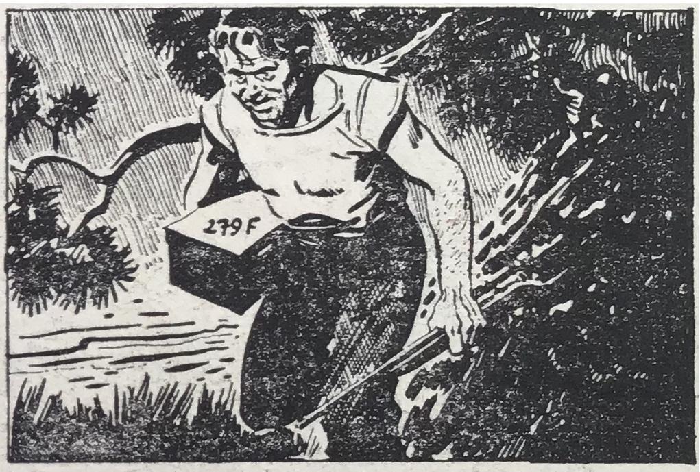 Copyright-remsan, Alex Raymonds signatur och datumet 15 september 1950 har retuscheras bort