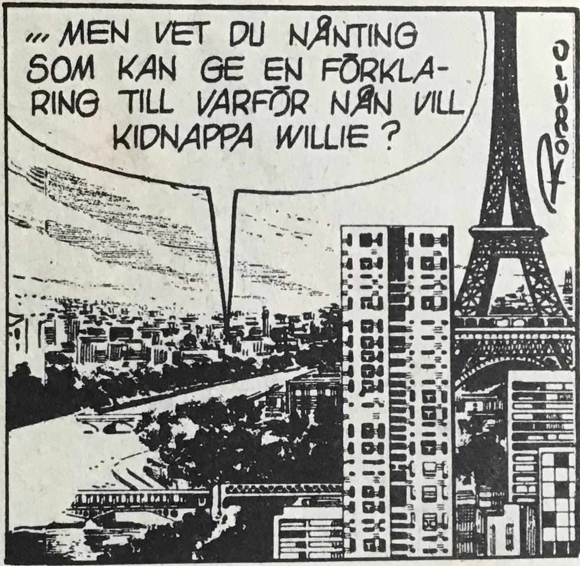 Redigering i serietidningar har gjort att bilden förlängts åt vänster, och fyllts ut, men inte broarna som upphör mitt i floden