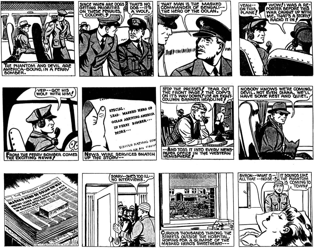 Episoden Bent Beak Border, här de tre första stripparna 11-13 januari 1943, var det den första episod McCoy tecknade från start