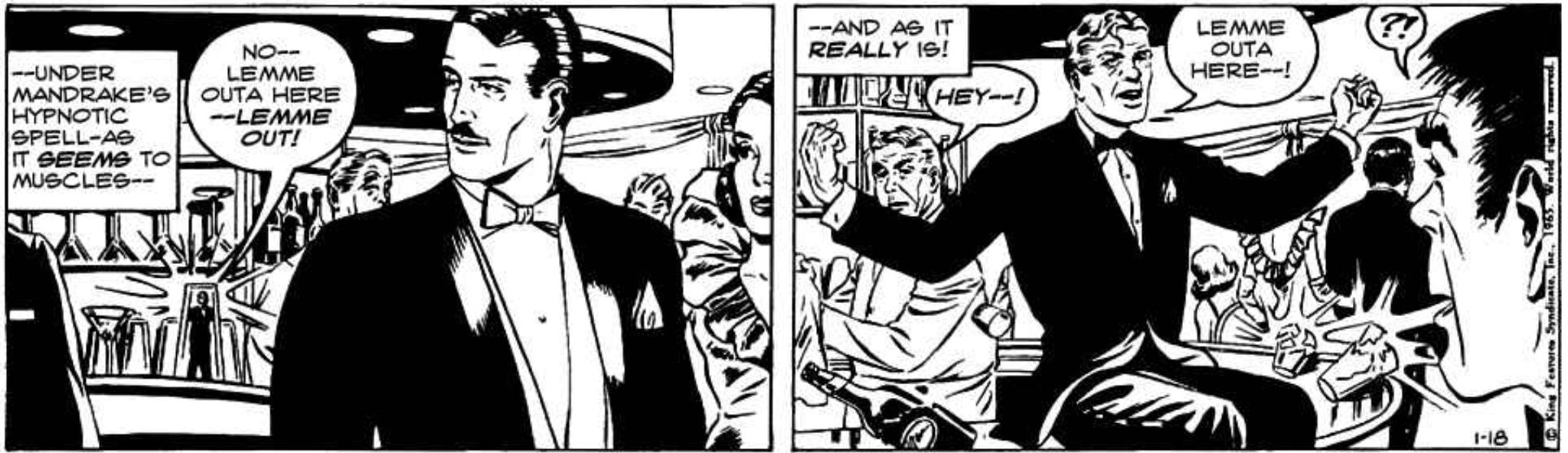 En av Phil Davis sista strippar, ur The Team, publicerad 18 januari 1965