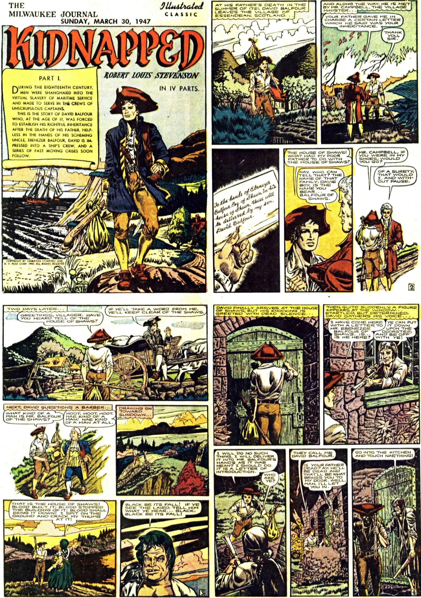 De första fyra sidorna i den första Illustrated Classic, från 30 mars 1947. En slags Illustrerade klassiker som söndagsbilaga.