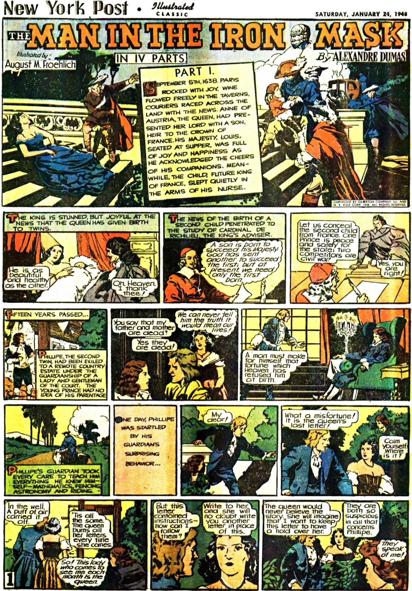 Inledande strippsida ur The Man in the Iron Mask, från 24 januari 1948. En slags Illustrerade klassiker som söndagsbilaga. ©Gilberton