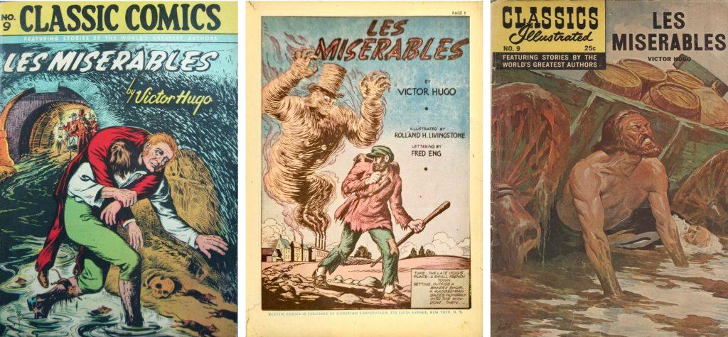 Omslag och förstasida ur Classic Comics #9 (1943), och omslag från Classics Illustrated #9 från 1968. ©Gilberton