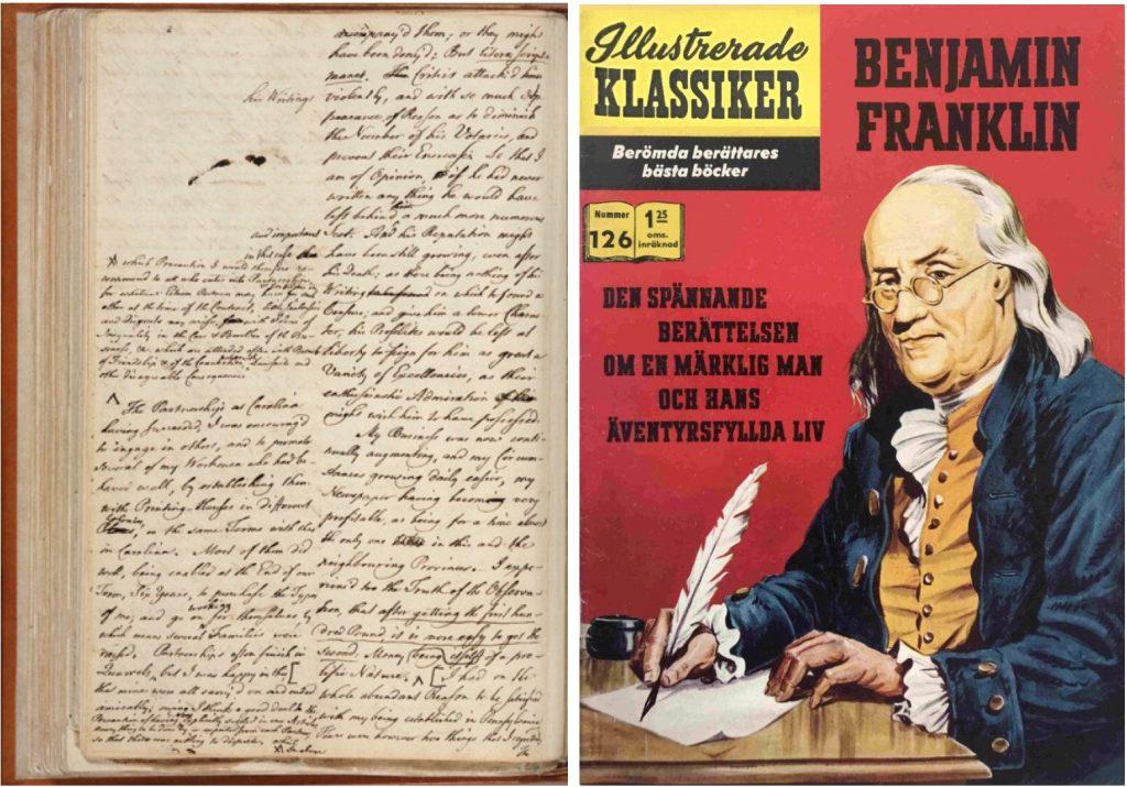 Manuskript av Benjamin Franklin och omslag till IK nr 126. ©IK/Gilberton