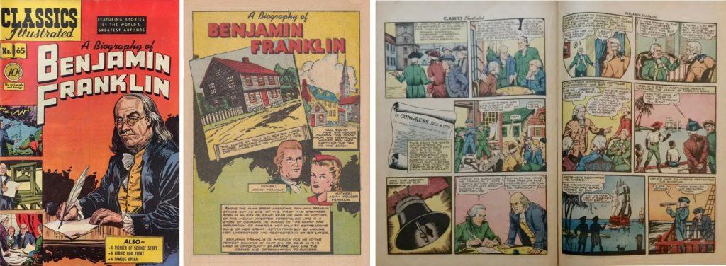 Omslag, förstasida och ett uppslag från Classics Illustrated #65 (1949). ©Gilberton