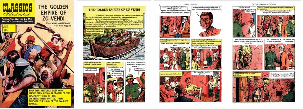 Omslag, förstasida och inledande uppslag ur Classics Illustrated (JES) No. 38. ©JES