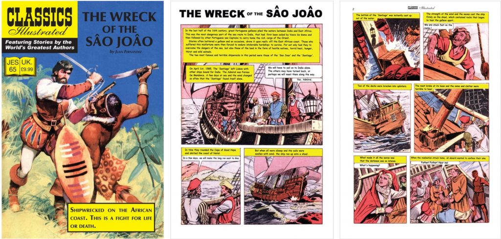 Omslag, förstasida och inledande sida ur Classics Illustrated (JES) No. 65. ©JES