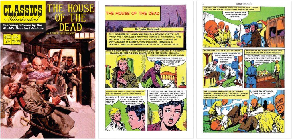 Omslag, inledande sida och en till sida ur inlagan ur Classics Illustrated (JES) No. 24. ©JES