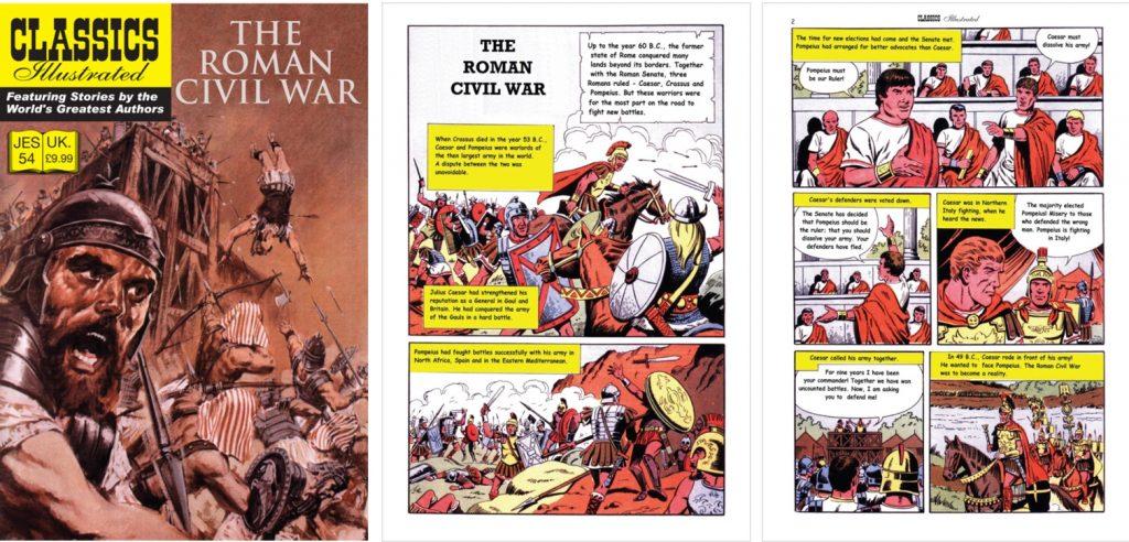 Omslag och inledande sidor ur Classics Illustrated (JES) No. 54. ©JES