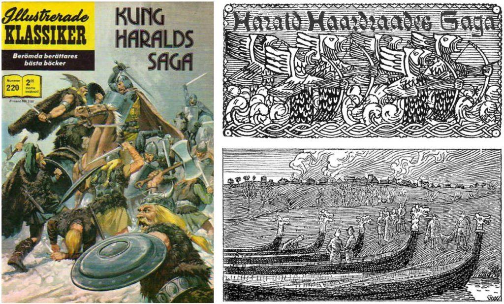 Omslag till Illustrerade klassiker nr 220, och bilder ur Harald hårdrådes historia. ©Williams