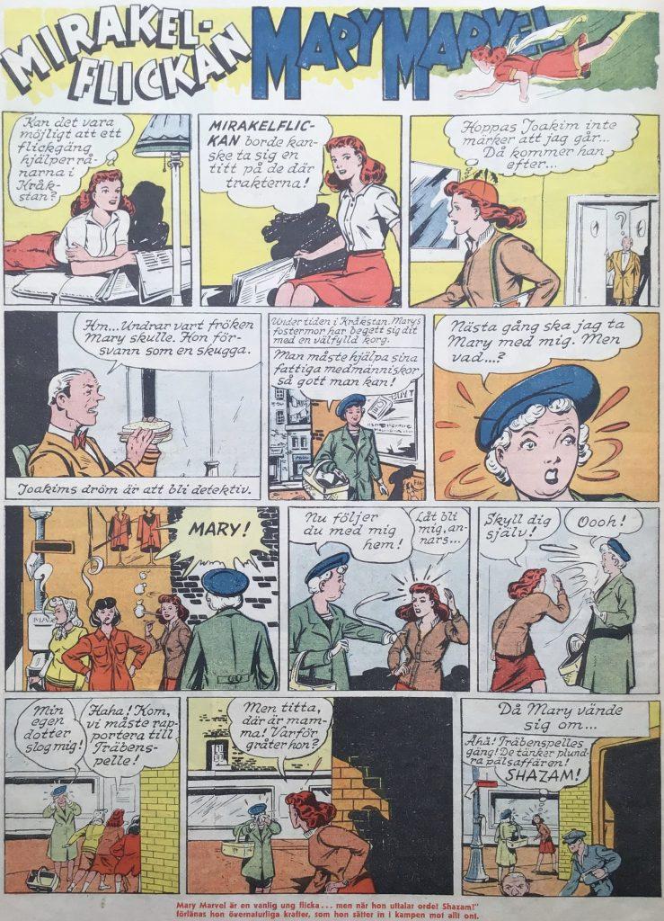 Första sidan med Mirakelflickan Mary Marvel ur Karl-Alfred nr 39, 1946. ©Fawcett