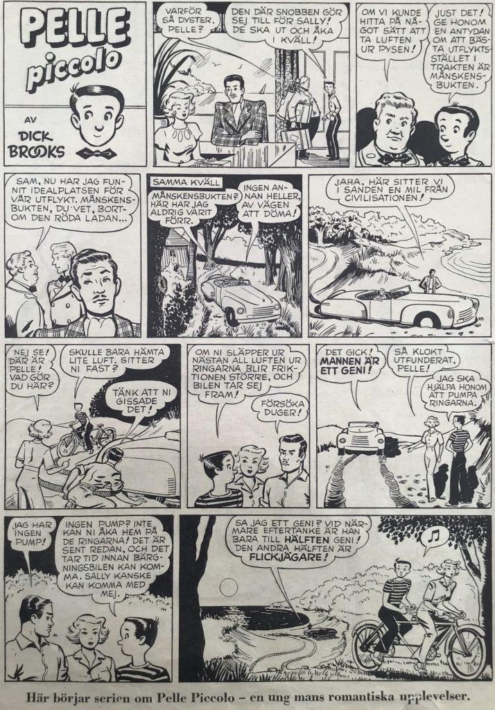 Första sidan med Pelle Piccolo (Elmer Squee) i nr 13, 1949. ©Bulls