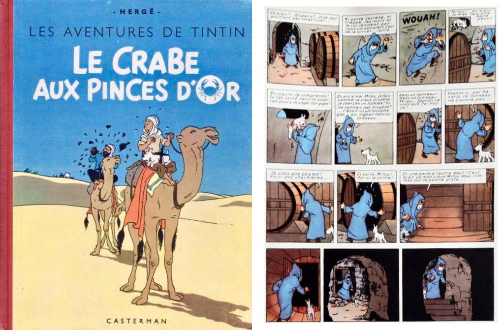 Omslag och en sida ur Le Crabe aux pinces d'Or (1943). ©Casterman/Hergé-Moulinsart