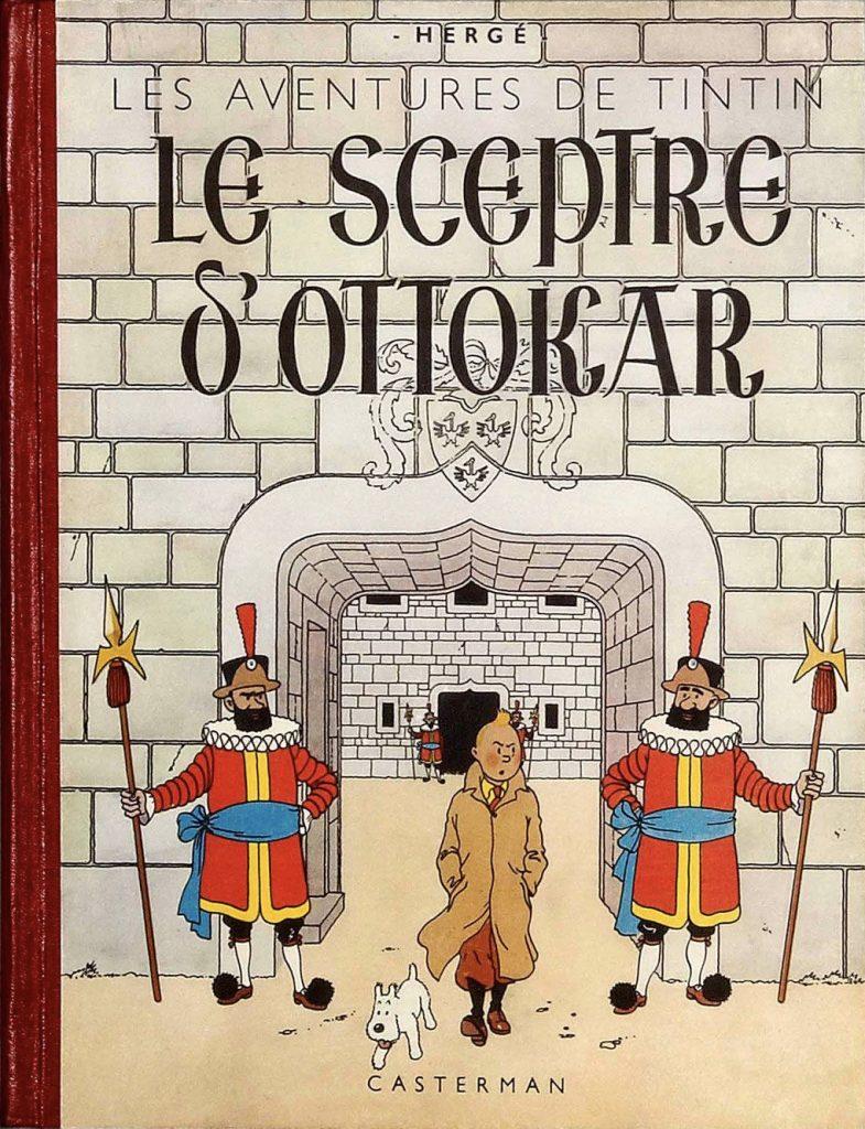 Omslaget från den 2:a upplagan (1942). Hergé omarbetade sedan omslaget till den andra versionen, bland annat med en bakgrund till rubriken för att göra den mer lättläst. ©Casterman/Hergé-Moulinsart