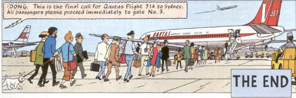 Tintin med sällskap får dock äntra flyg 714 till Sydney till slut. ©Hergé-Moulinsart