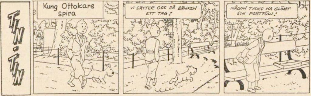 Den inledande strippen till Kung Ottokars spira ur DN från 19 december 1964. ©PIB