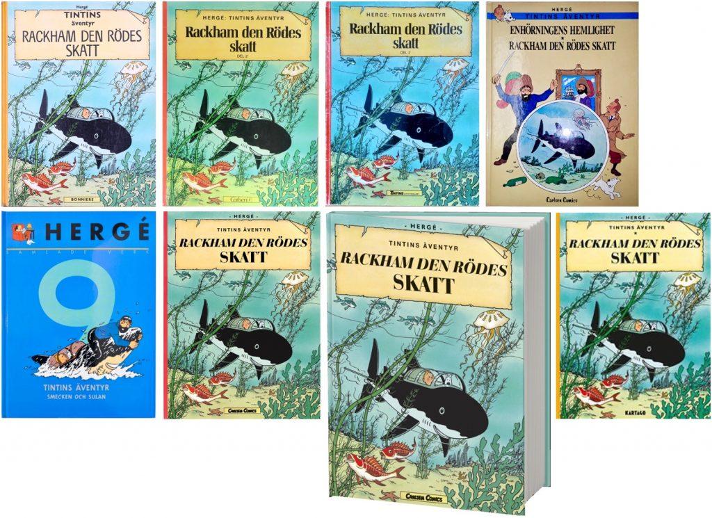 Rackham den Rödes skatt är ett av de seriealbum med Tintin som utkommit med flest utgåvor. ©Bonniers/Carlsen/Kartago/Cobolt/Nordisk bok