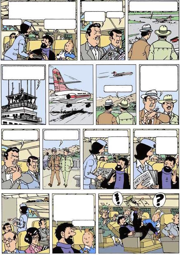 Sprattet på Studios Hergé: Den falska Tintin-sidan (1965), färglagd senare av okänd, i de Moors anda.