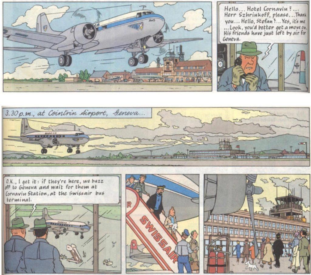 Några strippar ur Det hemliga vapnet (från sid 16-17) som också kan ha tjänst som inspiration. ©Hergé-Moulinsart