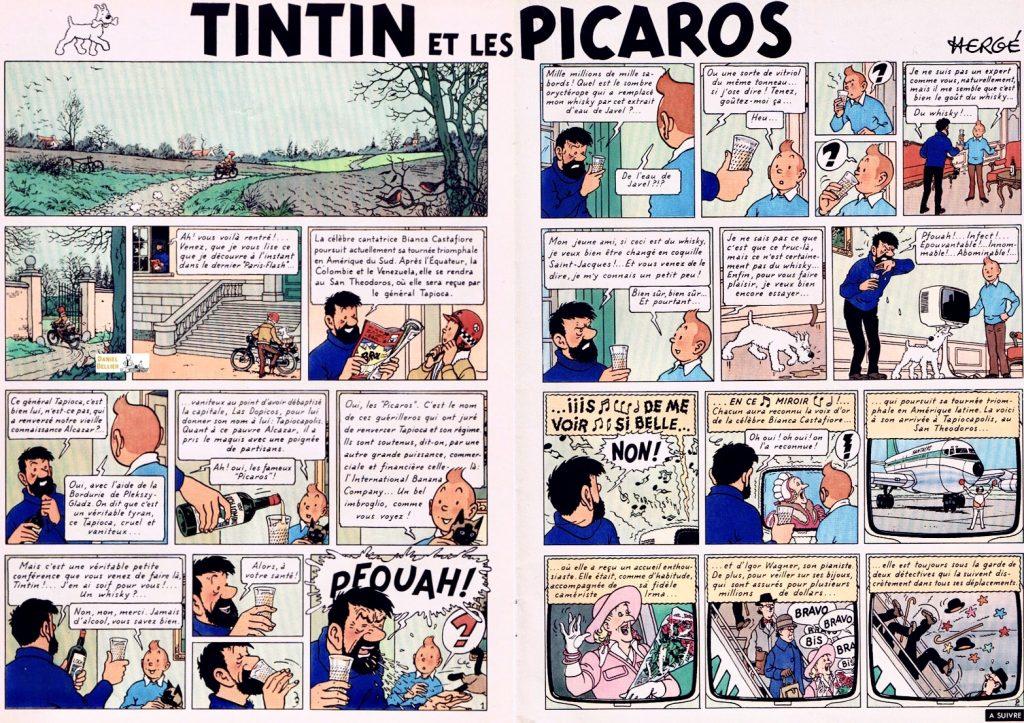 Inledande uppslag till Tintin et les Picaros ur Le Journal de Tintin från 16 september 1975. ©Hergé-Moulinsart
