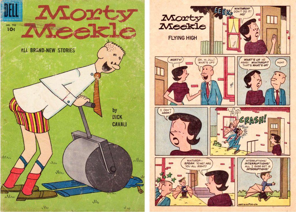 Omslag och en sida ur Four Color Comic #793, med Morty, Jill och Winthrop. ©Dell
