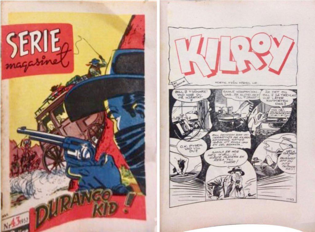 Omslag till Seriemagasinet nr 43, 1952, och inledande sida med Kilroy av Rolf Gohs. ©Press & Publicity/Gohs