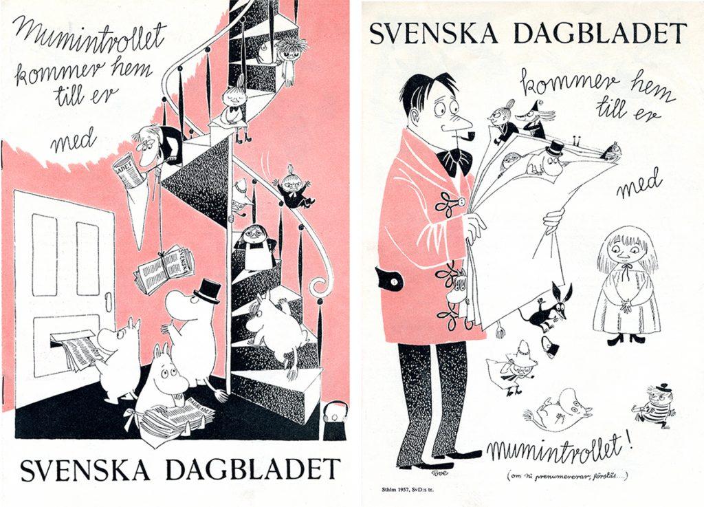 Reklam på 50-talet för SvD med Mumintrollet. ©Moomin Characters