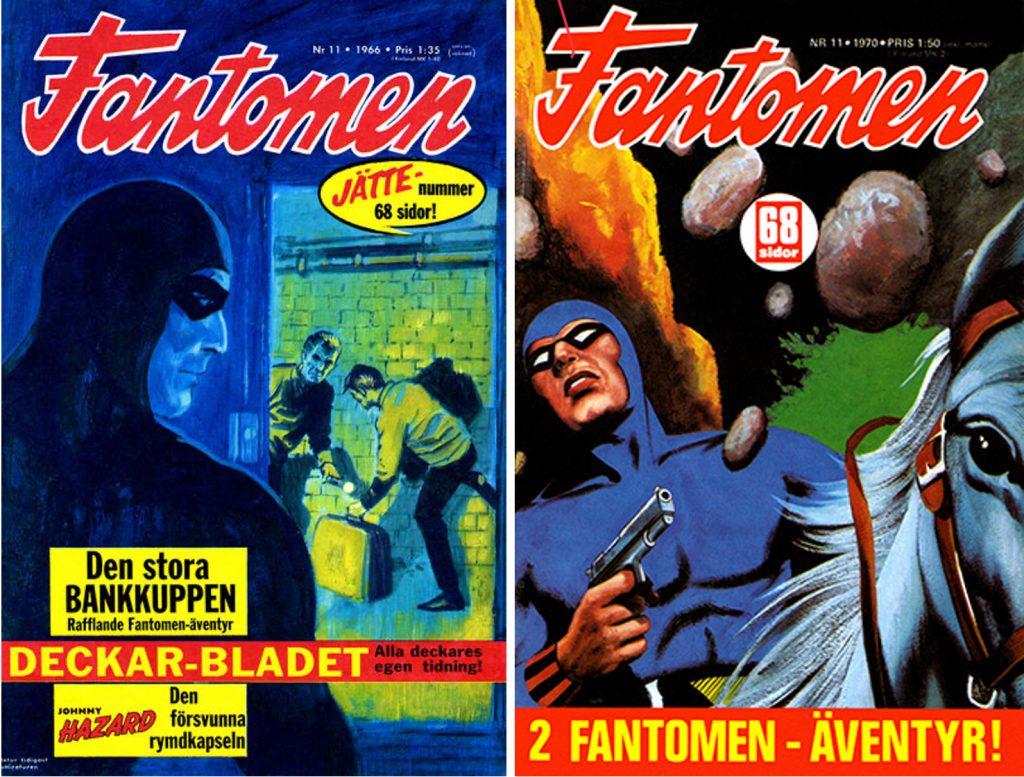 Omslag till Fantomen nr 11/1966 och 11/1970, med Fantomen-serier av Gohs. Även det senare omslaget är skapat av Gohs. ©Semic