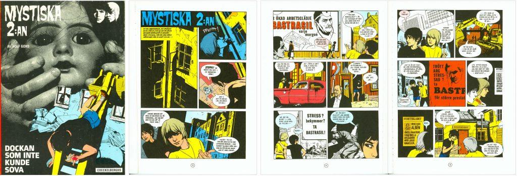 Omslag och inledande sidor av Dockan som inte kunde sova, med Mystiska 2:an i färg. ©Coeckelberghs