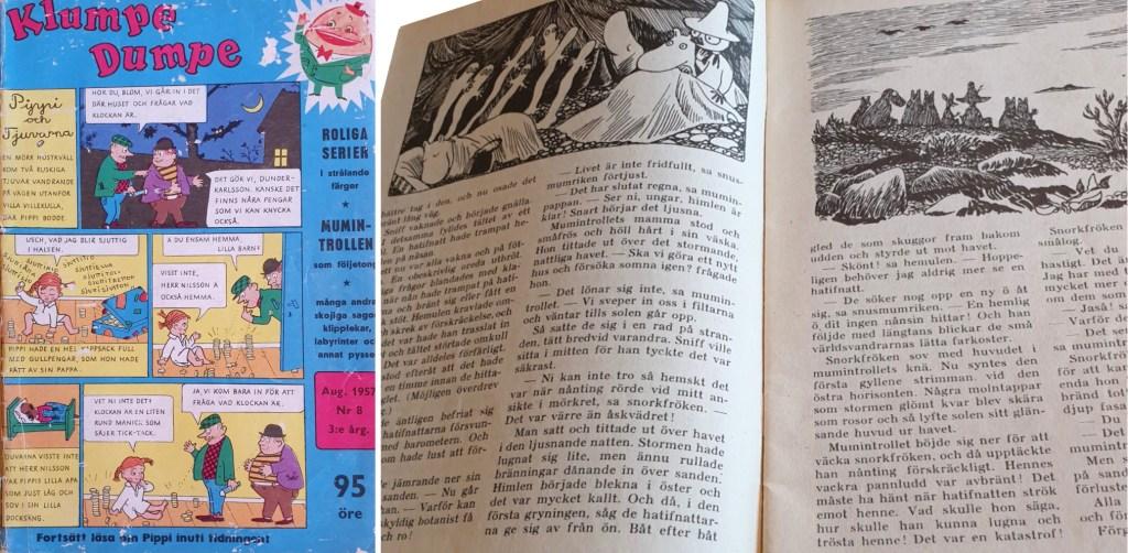 Omslag till Klumpe Dumpe nr 8, 1957 och Trollkarlens hatt med Mumintrollet. ©Rabén & Sjögren