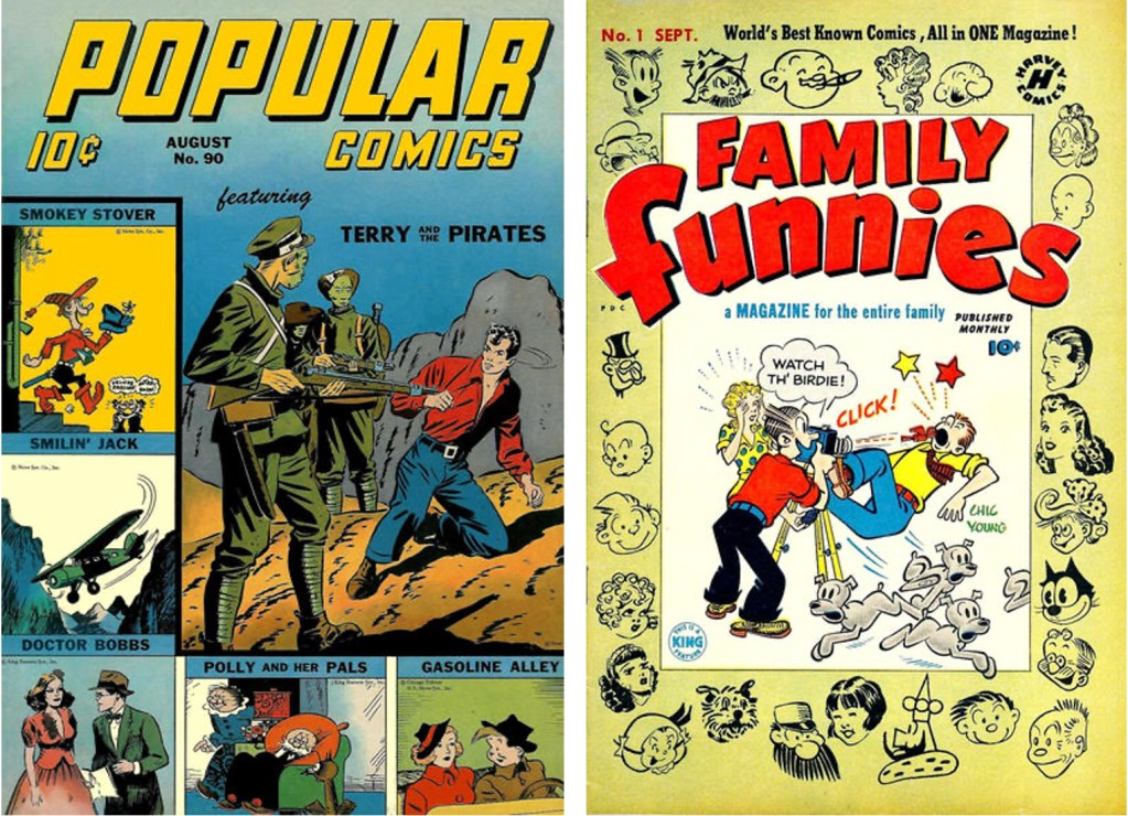 Omslag till Popular Comics #90 (1943), och Family Funnies #1 (1950). ©Dell/Harvey