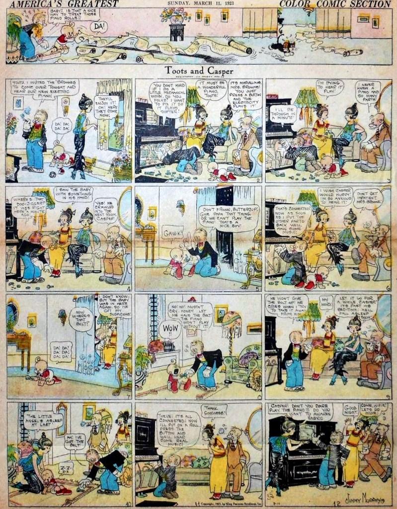 En söndagsstripp med Toots and Casper från 11 mars 1923. ©KFS