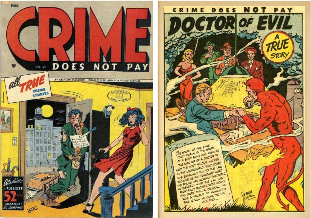 Omslag till Crime Does Not Pay #43 (January 1946), och inledande sida till en serie av Vernon Henkel. ©Gleason