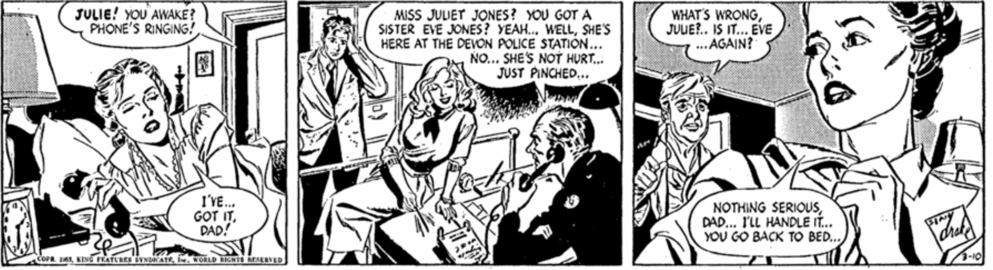 En dagsstripp med The Heart of Juliet Jones från 10 mars 1953. ©KFS