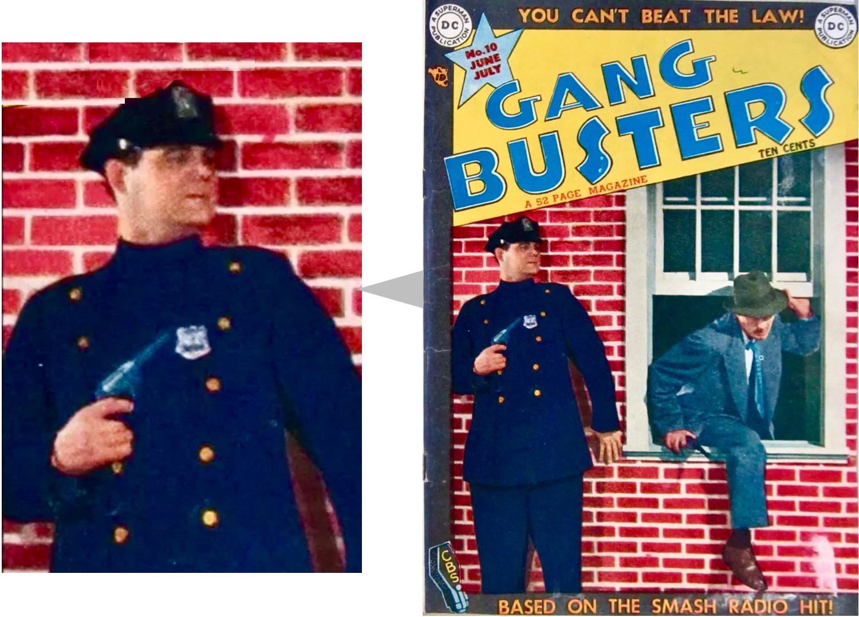 France Herron spelar polisen på omslaget till Gang Busters #10 (juni-juli 1949). Redaktören Jack Schiff spelade skurken. ©DC