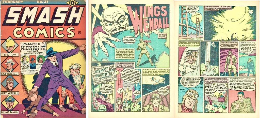 Omslag till Smash Comics #31 (1942) och ett första uppslag med Wings Wendall. ©Quality
