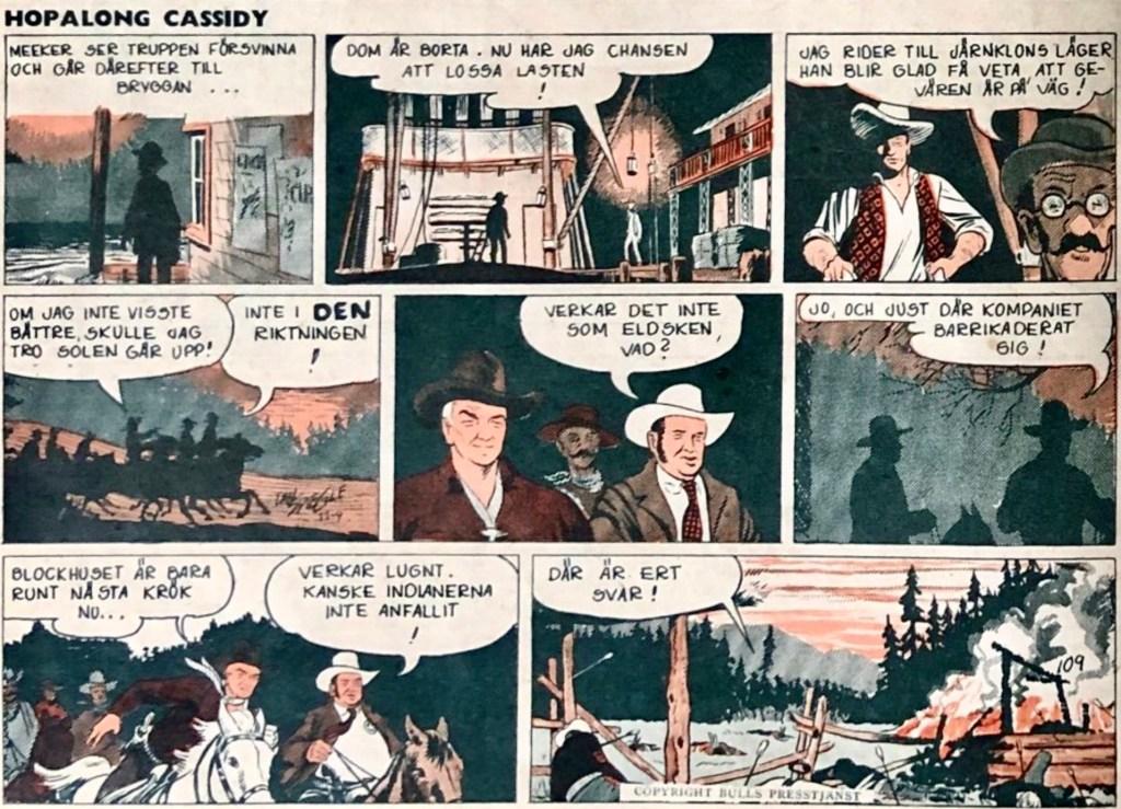En halvsida Hopalong Cassidy ur Året Runt nr 52, 1953. ©Bulls