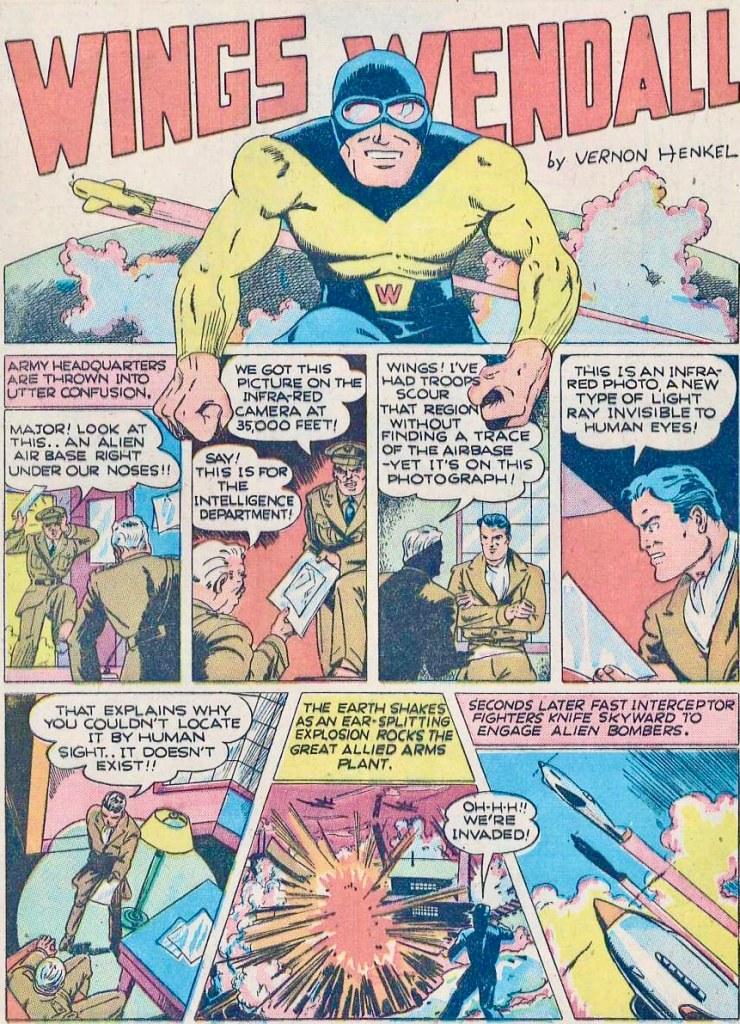 En maskerad Wings Wendall ur Smash Comics #24 (juli 1941). ©Quality