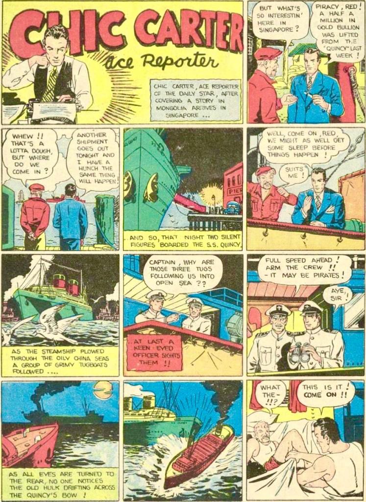 Inledande sida ur en episod med Chic Carter, från Smash Comics #4 (1939). ©Quality