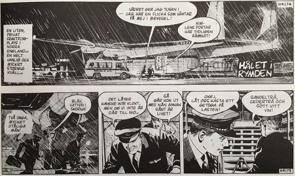 De inledande stripparna 4174-75 (från 6-7 september 1967) ur episoden Hålet i rymden. ©Bulls