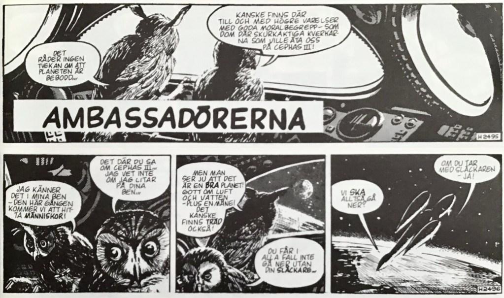 De inledande stripparna 2495-96 (från 6-7 april 1962) ur episoden Ambassadörerna. ©Bulls