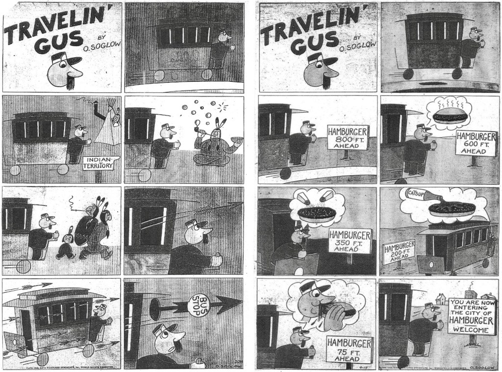 Två söndagsstrippar med Travelin' Gus, från 24 februari och 15 september 1946. ©KFS