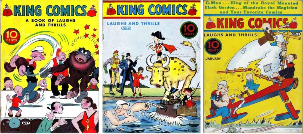 Omslag till King Comics #1, 4 och 10 (1936-37). ©McKay