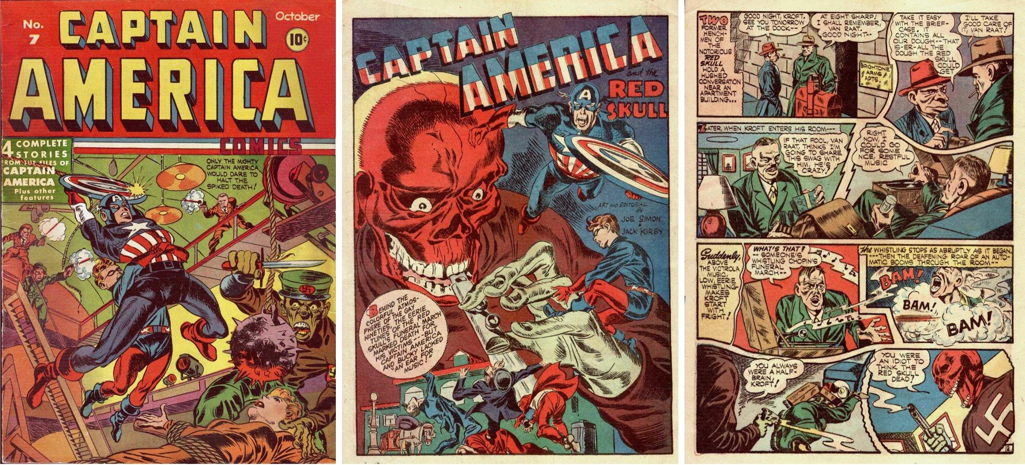 Omslag, förstasida och inledande sida till Captain America and the Red Skull i #7 (1941). ©Timely