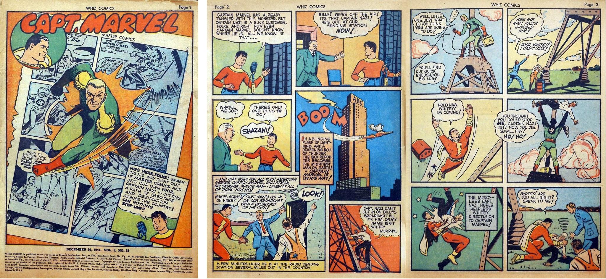 Inledande sidor ur Captain Marvel, med introduktionen av Captain Marvel Jr. från Whiz Comics #25 (1941). ©Fawcett
